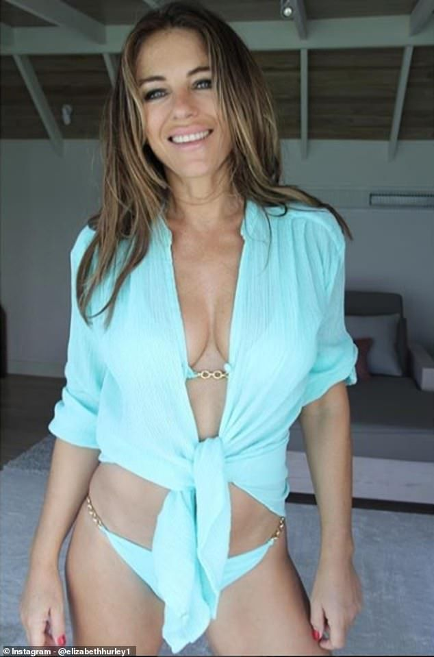 f1d07b9e05e7b Incredible: Elizabeth Hurley, 53, set pulses racing on Wednesday as she  took to Instagram to share a gorgeous snap of herself clad in a pretty blue  bikini ...