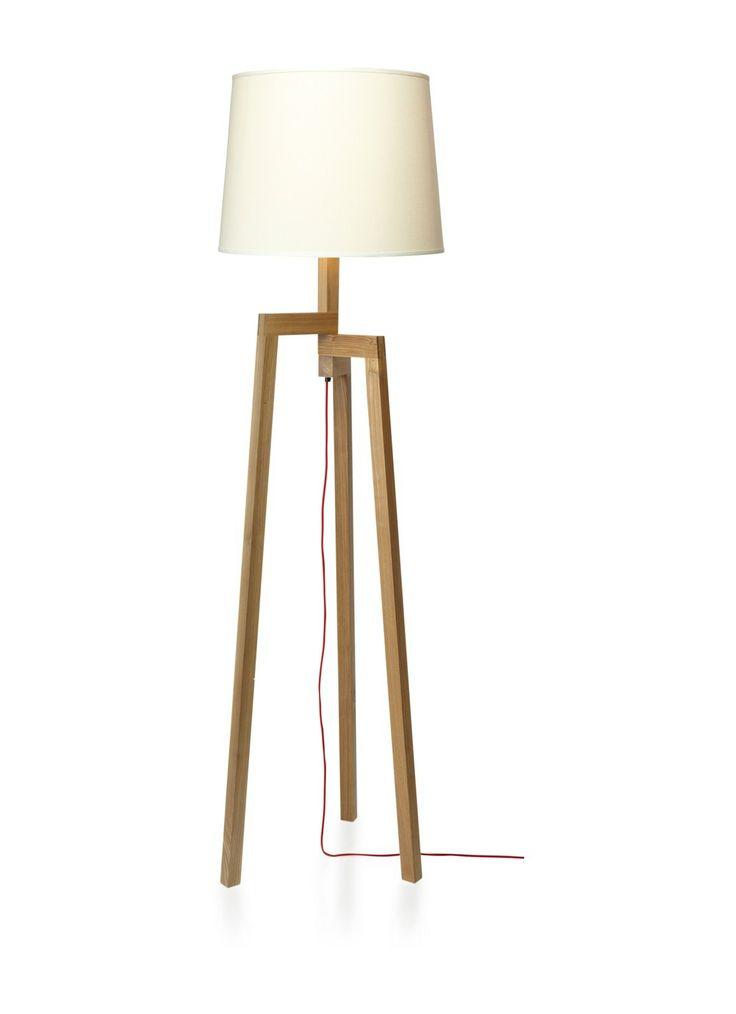 Vloerlamp met houten frame • de Bijenkorf- €210