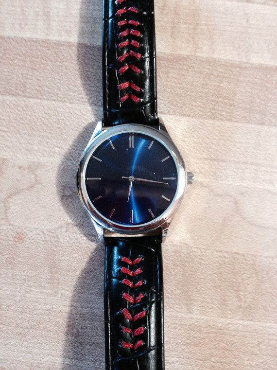 ◕◊ Unisex #watch w/black band, blue face and red baseball seams #stitched into band. http://etsy.me/2gwFTqi