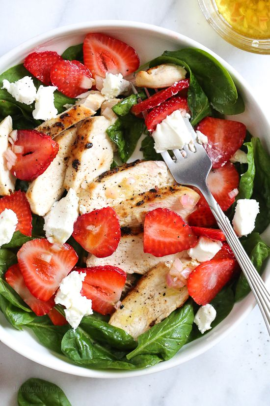 Grilled Chicken Salad with Strawberries and Spinach is all I've been craving now that Spring is in full bloom! I made this with creamy goat cheese and a white balsamic dressing, but this would also be great with Feta cheese and if you want to add more protein, or skip the cheese add walnuts or slivered almonds.