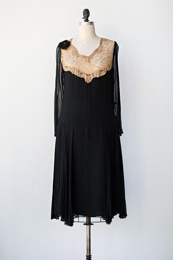 vintage 1920s black chiffon dress with illusion ecru lace | www.adoredvintage.com