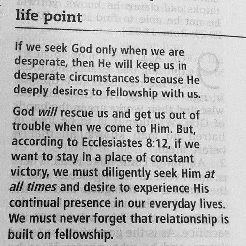 seek Him at all times.