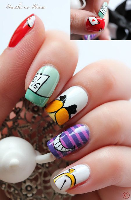Alice in Wonderland inspired Nail Art by Tenshi no Hana - Island Girl