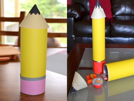 Pencil-shaped party favors! Made from a Pringles can-- put candy inside!