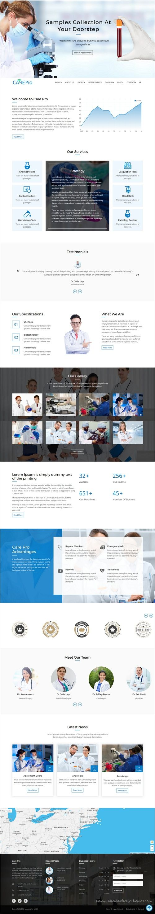 Care pro is a modern design HTML Bootstrap theme for #webdesign #medical, small #clinics like Gynecology, Cardiology, dental hospitals website with 6 different homepage layouts download now➩ https://themeforest.net/item/care-pro-medical-template/19253365?ref=Datasata