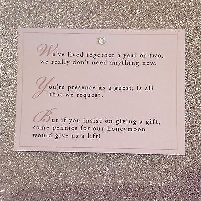 5 X Wedding Poem Cards For Invitations Money Cash Gift Honeymoon