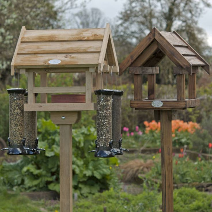 free standing wooden bird feeders