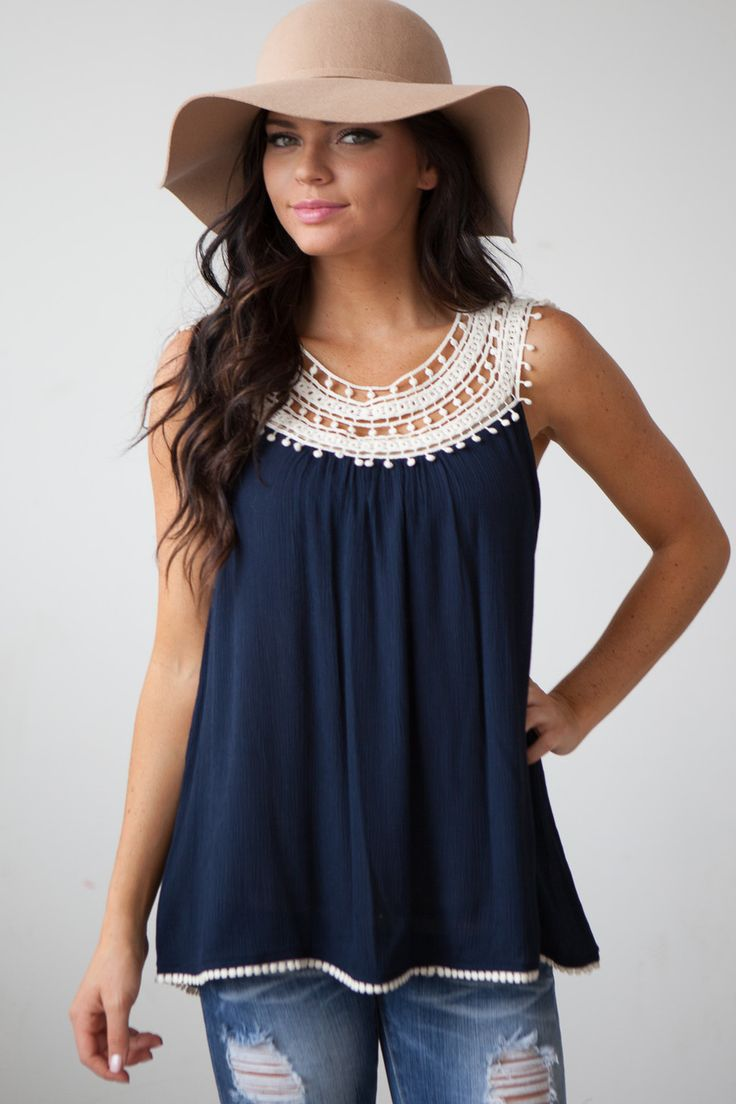 Magnolia Boutique Indianapolis - Crochet Detail Sleeveless Guaze Top - Navy, $32.00 (http://www.indiefashionboutique.com/crochet-detail-sleeveless-guaze-top-navy/)
