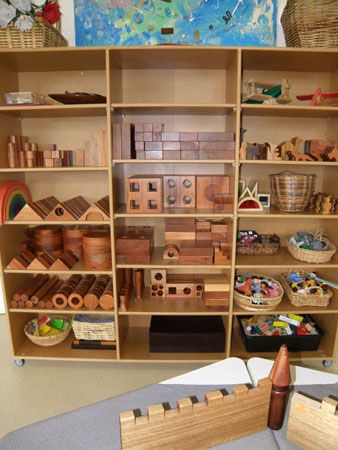 Irresistible Ideas for play based learning ~ such a great shelf for blocks.