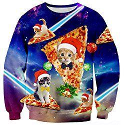 Raisevern Mens Galaxy Pizza Cat Santa Hat Ugly Christmas Crewneck Sweater Sweatshirt Jumper, Pizza Cat 1, Large