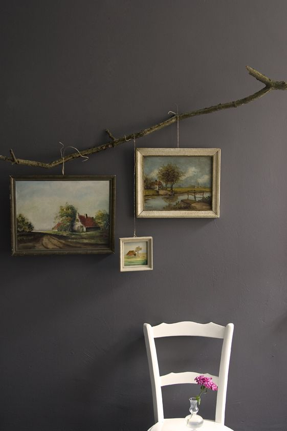 Rustic themed picture display. Love it!