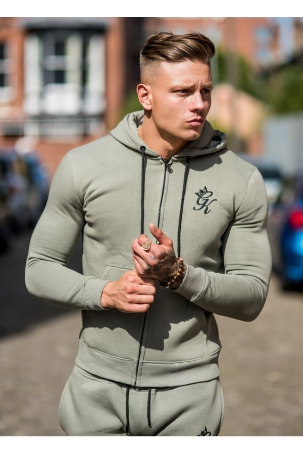 Gym King Tracksuit Zipped Hoodie - Vetiver