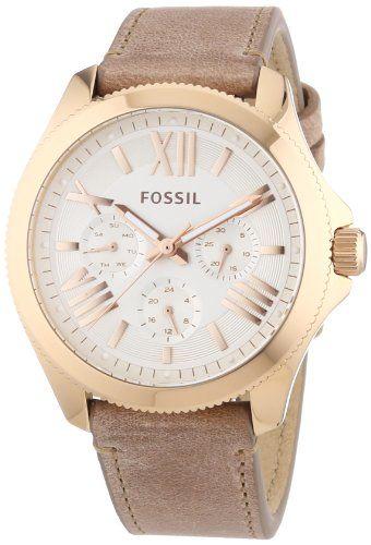 Montre femme Fossil AM4532 à quartz avec bracelet en cuir beige Coloris : Blanc/Marron Matières : Cuir/Acier Mouvement : Quartz Étanchéïté : 10 atm Verre : Miné #Montre #Fossil