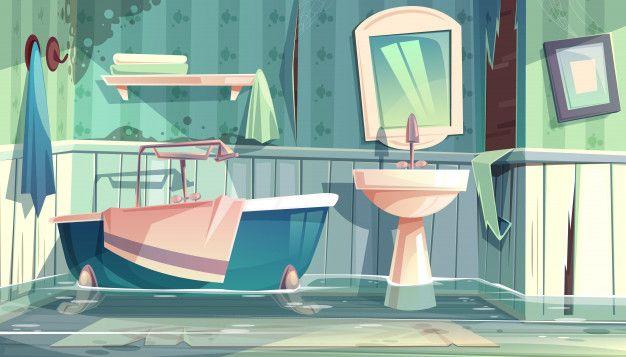 Download Flooded Bathroom In Old Apartments Or House Cartoon Illustration With Vintage Bathtub for free Cartoon house Cartoon background Cartoon illustration