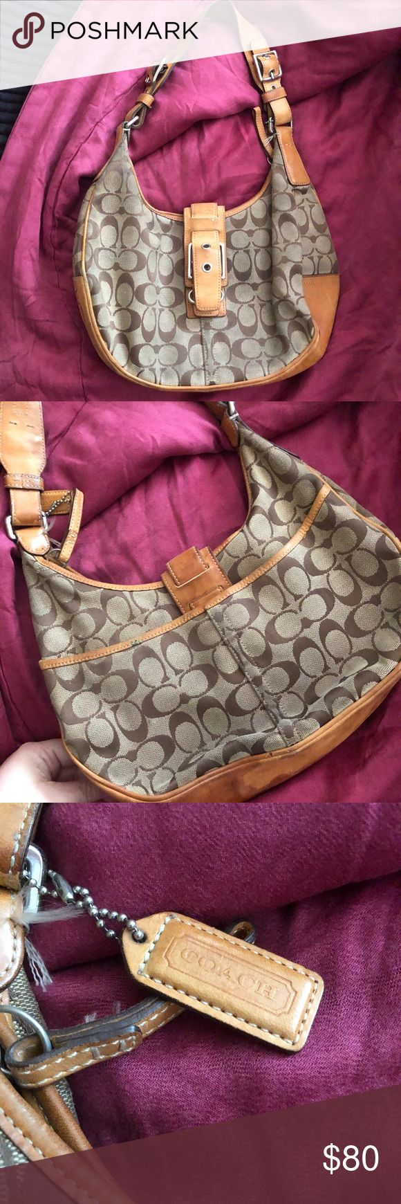 Coach Hobo Bag used This coach hobo bag is a classic he could use some dry cleaning never been professionally cleaned it is used or we might say loved.   Handle my items for a discount  I listed a lower price to figure in your dry cleaning fee Coach Bags Hobos