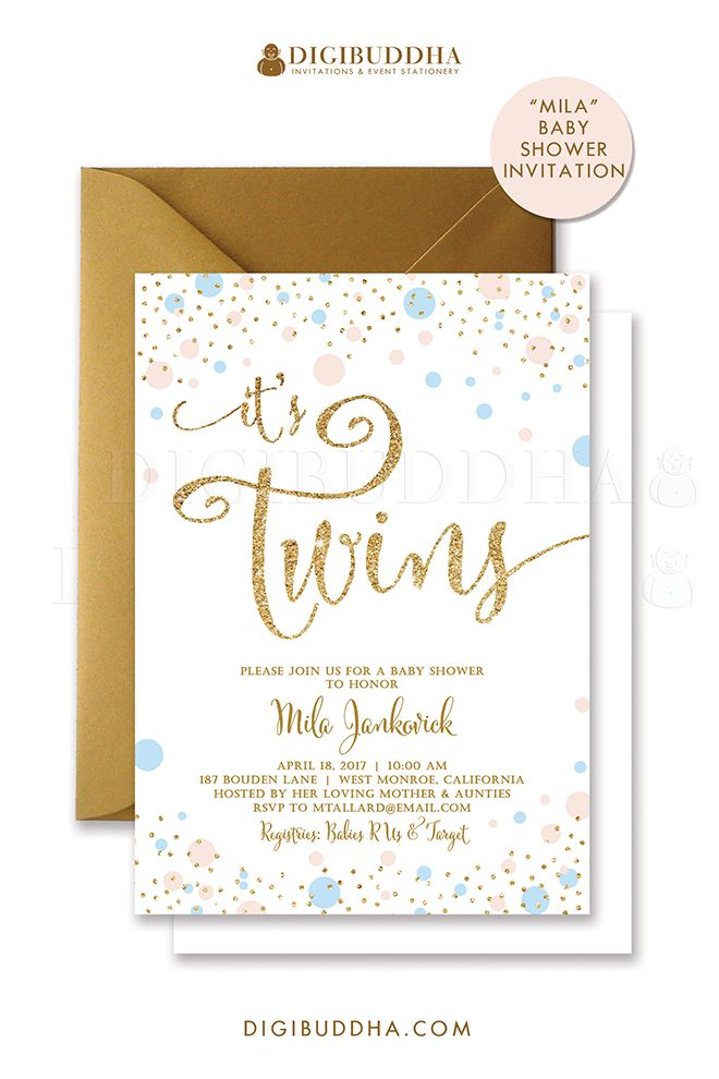 Boy U0026 Girl Twins Baby Shower Invitation. Gender Neutral Pink U0026 Blue With  Gold Glitter