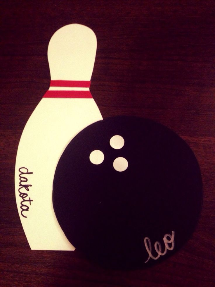 Bowling pin and bowling ball template for door decs
