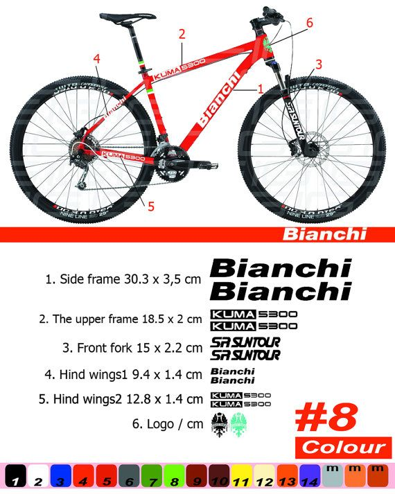 Bianchi Bike Bicycle Frame Decals Stickers Graphic Adhesive Set Vinyl Red