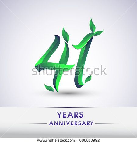 forty one years anniversary celebration logotype with leaf and green colored. 41st birthday logo on white background.