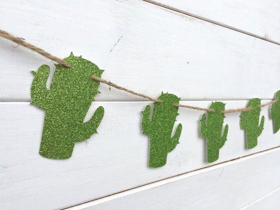 CACTUS papier banner glitter groen cactus banner door RedBirdBanners