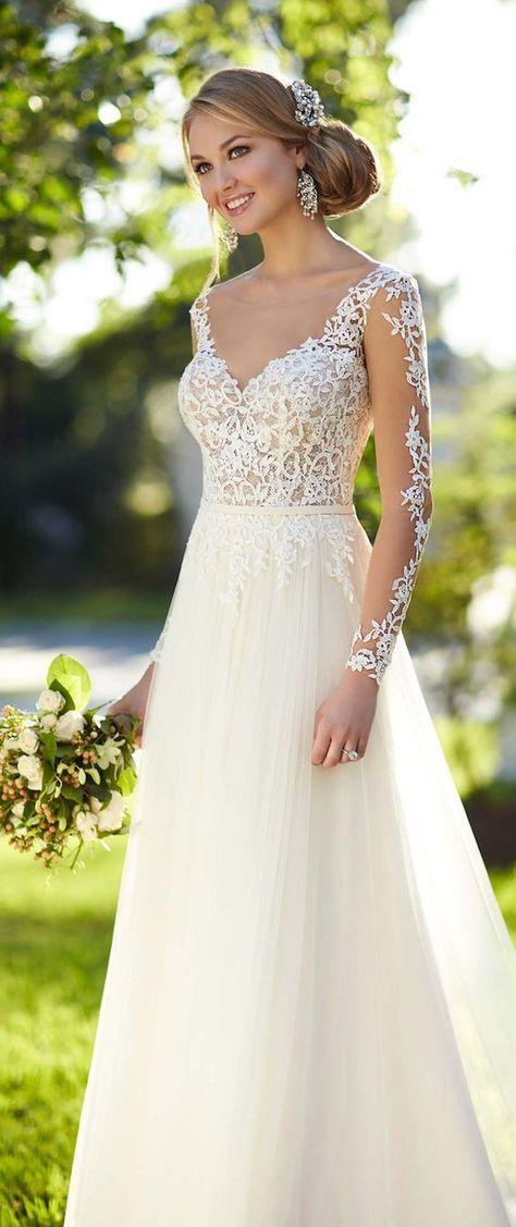 Stella York Spring 2016 Wedding Dress with Long Sleeves / http://www.deerpearlflowers.com/fall-winter-long-sleeve-wedding-dresses/