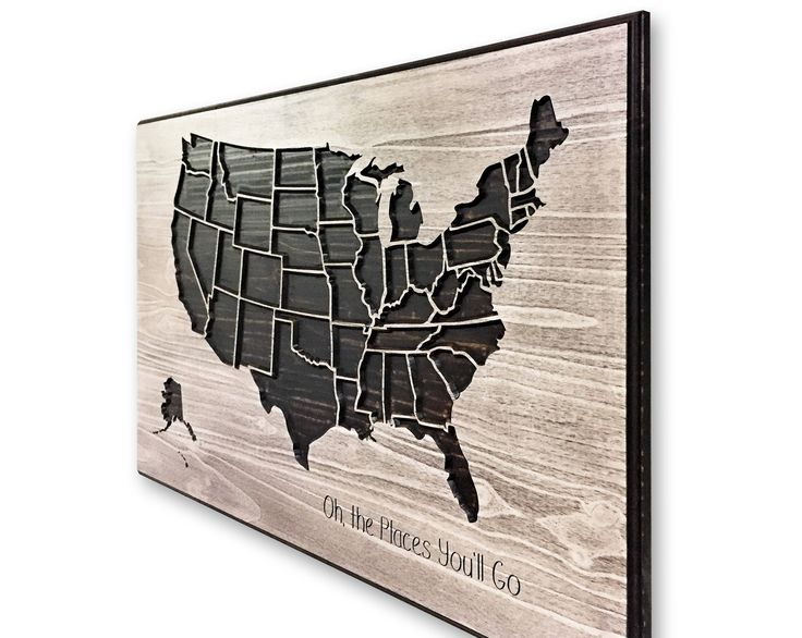 United States Map, Wooden Map, Wood Wall Art, US Map Decor, US Map Picture, Push Pin, Mark travels, adventure art, Carved, Customized Map by HowdyOwl on Etsy