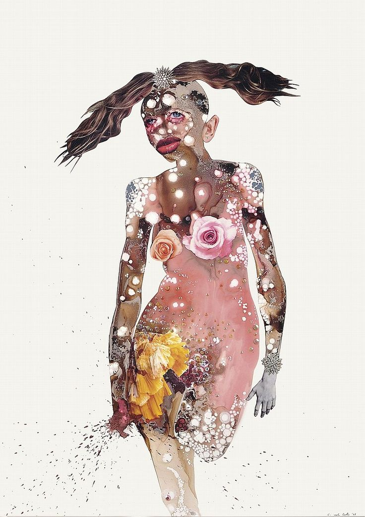 Wangechi Mutu (b. 1972) <br />All Rosey <br />signed and dated 'Wangechi Mutu '03' (lower right) <br />ink, acrylic, sequins, glitter and printed paper collage on mylar <br />42 x 30 in. (106.6 x 76.2 cm.) <br />Executed in 2003. <br />