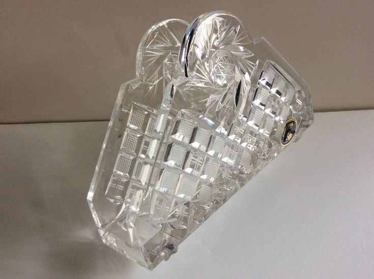 Bohemian Czech hand cut lead crystal napkin holder; vintage 24% lead crystal; excellent condition; sparkles and shines