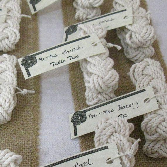 50 nautical wedding favor bracelets woven from white cotton    Turks head sailor knot bracelets bulk price of $3.30 each. Other quantity discounts