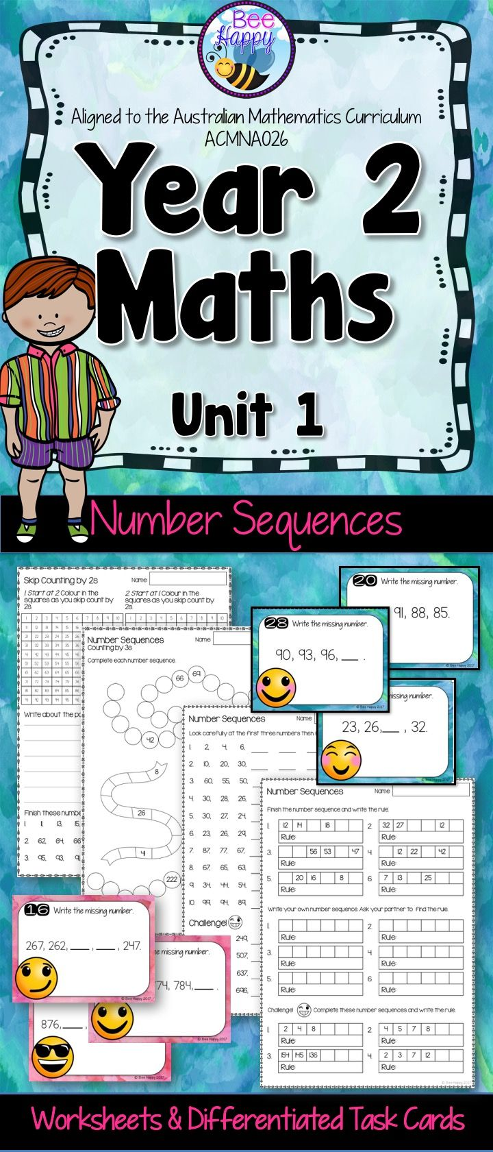 These worksheets and task cards cover number patterns in two levels. The resource presents sequences using numbers to 100, initially those increasing by twos, threes, fives and tens, then moving to other sequences and numbers to 1,000.