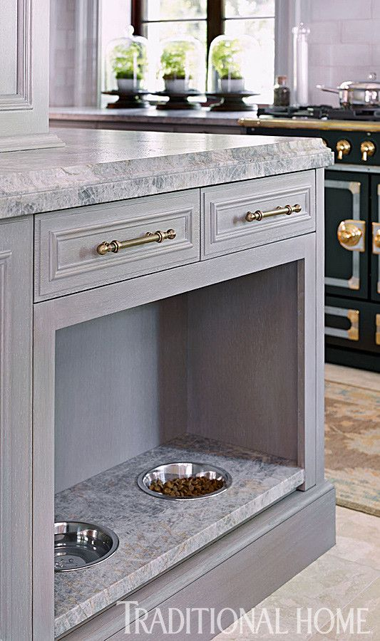 Built-in dog bowls gray cabinets #kitchen #interiordesign #design #classic #home #style