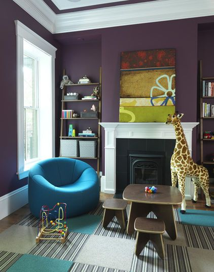 this room shows playfully how good purple can look with other strong colors such as turquoise. Black Bedroom Furniture Sets. Home Design Ideas