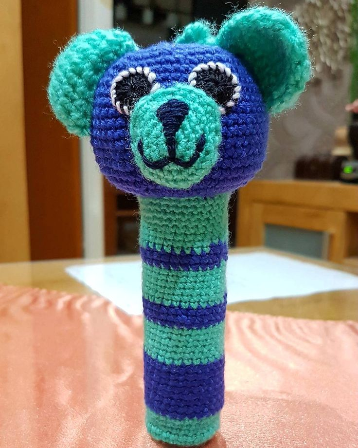 my handmade done 🐻 for little baby... bear rattle... medvedia hlava ako hrkálka...