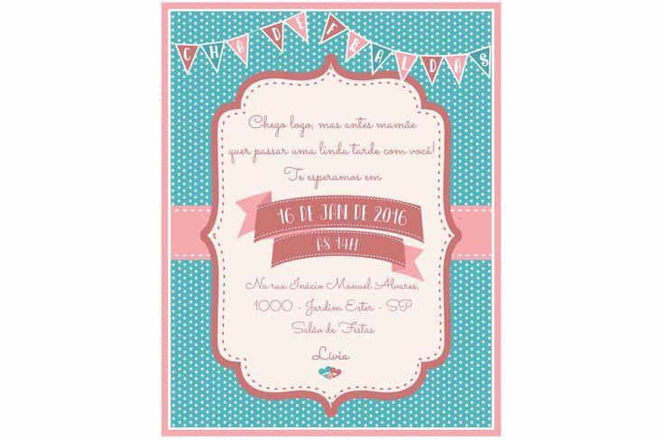 Convite - Chá de Bebê - cores Goiaba, Rosa e Azul Turquesa