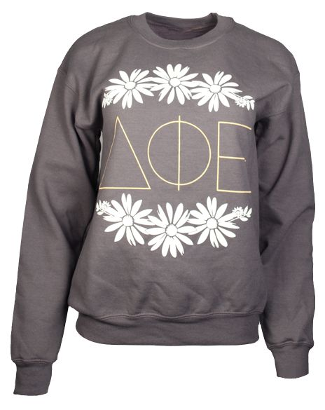 greek letters shirts 2 delta phi epsilon flower crewneck by adam block design 22053 | 8488fae7fbf4469bc73fc221d202f2bf