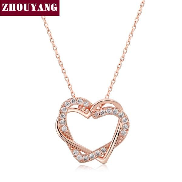 Top Quality Heart to Heart Rose Gold Color Pendant +Shiriza.com  Necklace Jewelry Made with Austria Crystal