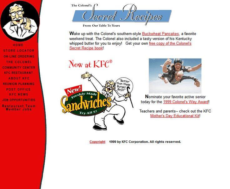 KFC website 1999