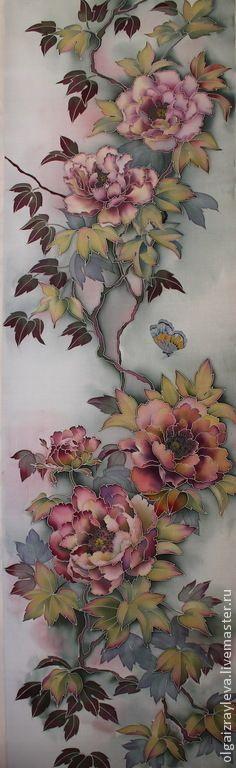 """Картины цветов ручной работы. Заказать Батик панно """"Пионы в китайском стиле""""…"""