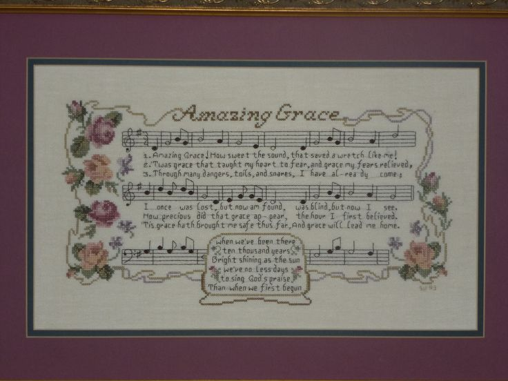 Counted Cross stitch on linen. Amazing Grace is a favorite hymn.