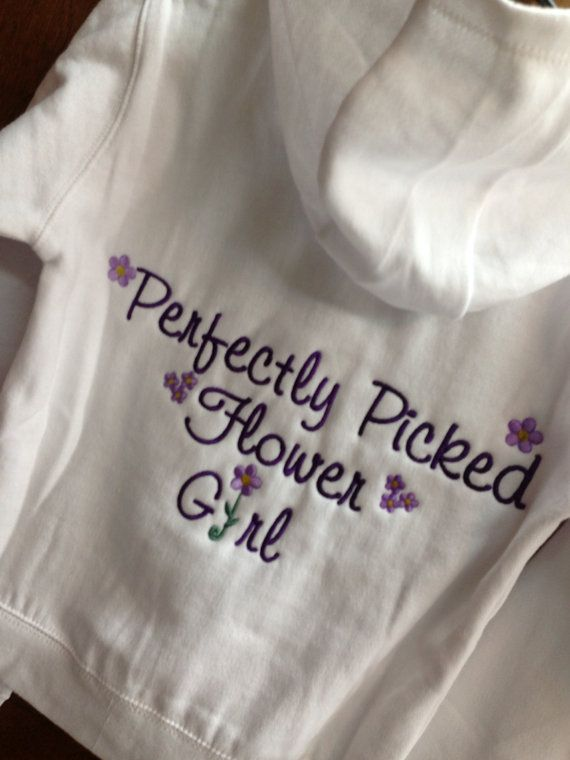 Personalized Embroidered Flower Girl full zip up hoodie jacket - cover up - with the date  - GREAT GIFT on Etsy, $30.99