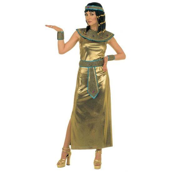 Cleopatra jurk. Lange jurk in de kleur goud bestaande uit een jurk, kraag, riem met edelstenen, polsbandje en hoofdband. Carnavalskleding 2015 #carnaval