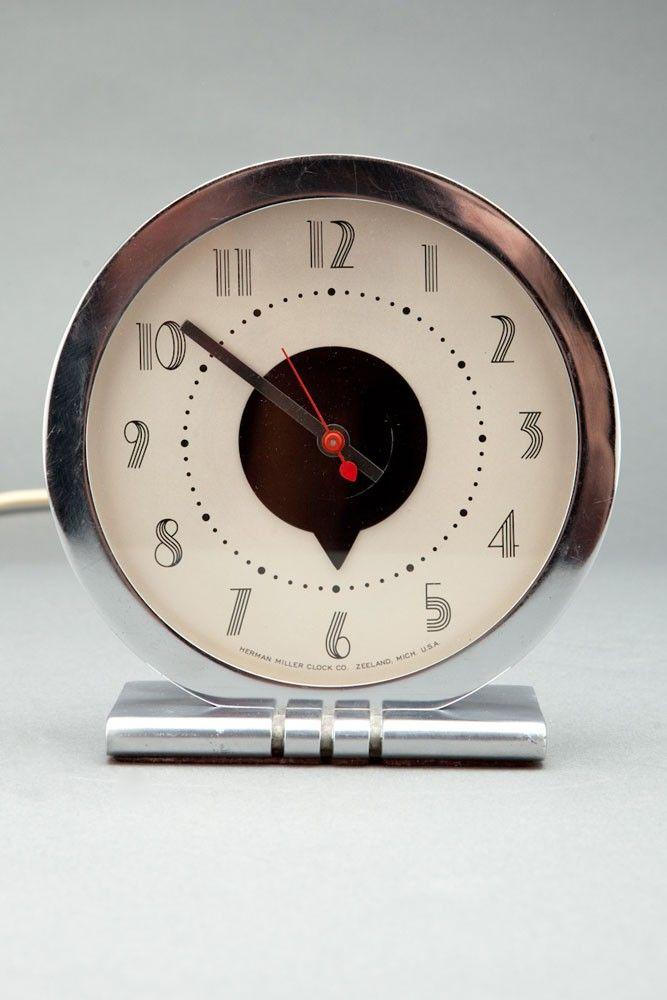 Sleek Model #4706-N electric desk clock - 1933 - Herman Miller Clock Co. - designer Gilbert Rohde.