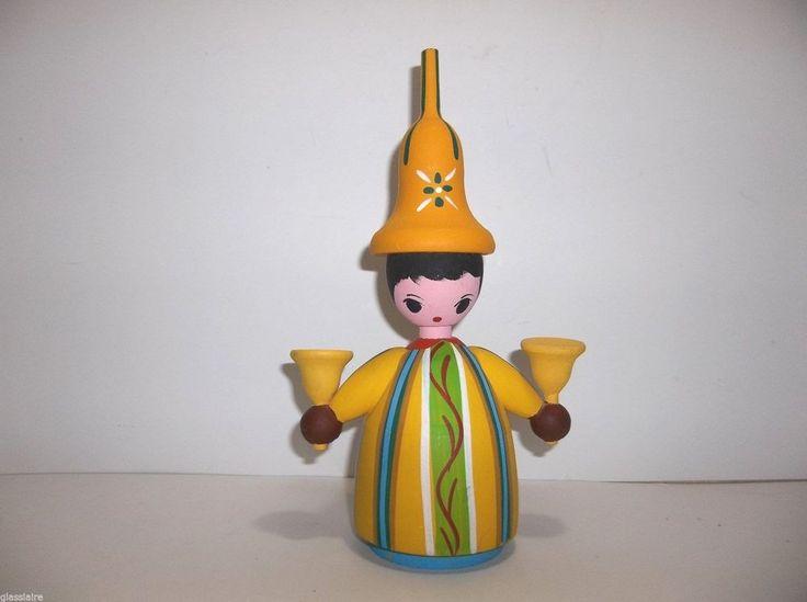 Lilian Klok Viborg 1960s MOGENS EIGENBROD Wood Scandinavian CHRISTMAS Candle Holder DENMARK