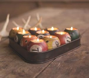 Awesome Candle Idea ... these would be wonderful if you could find antique pool balls to use
