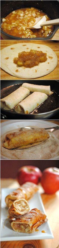 Cinnamon Apple Dessert Chimichangas - 16 Apple Desserts that Deserve Your Attention   GleamItUp