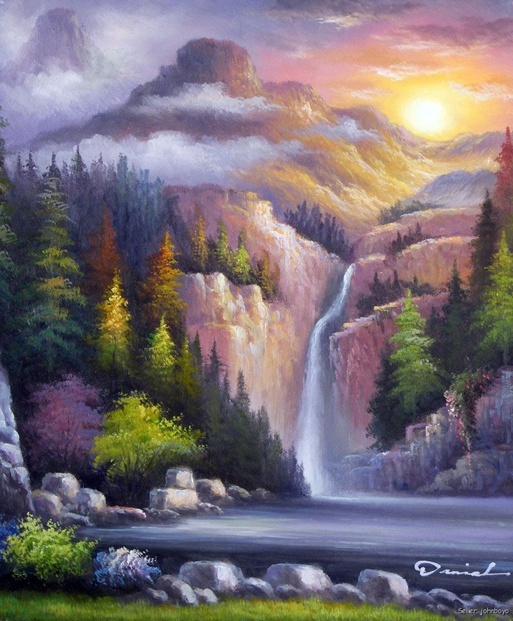 Mountain Waterfall Forest Sunset Clouds Pine Tree Oil On ...