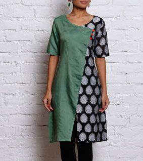 Green & Black Chanderi & Cotton Silk Angrakha Kurta