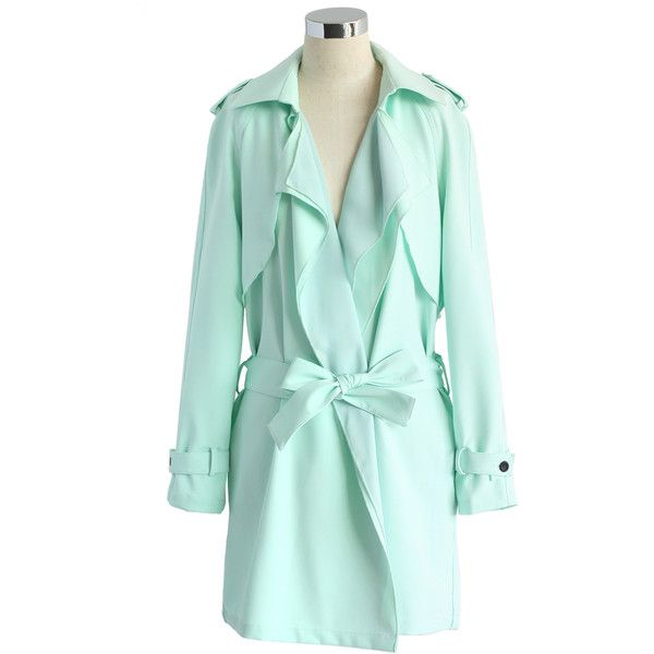 Chicwish Inspirational Waterfall Trench Coat in Mint ($70) ❤ liked on Polyvore featuring outerwear, coats, jackets, green, mint green coat, cotton coat, waist belt, trench coat and draped trench coat