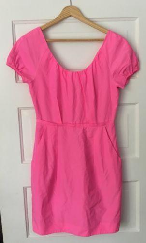 J-Crew-Dress-Hot-Pink-Short-Sleeves-Pockets-Cotton-Silk-Sz-4