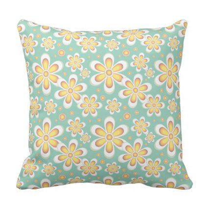 Retro Floral Pattern Yellow Green Throw Pillow - floral style flower flowers stylish diy personalize